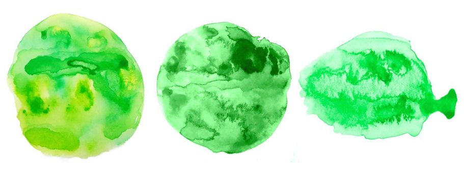 green hand painted watercolor texture background