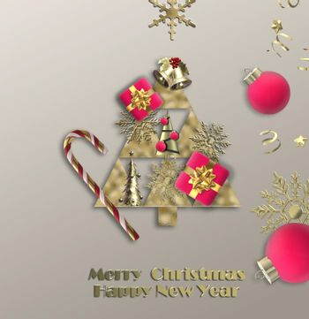 Merry Christmas New Year greeting card
