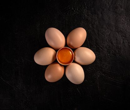 Flat lay of chicken egg