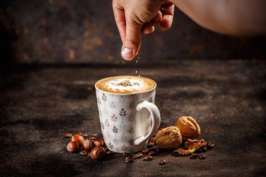 Hazelnut and walnut flavored coffee latte
