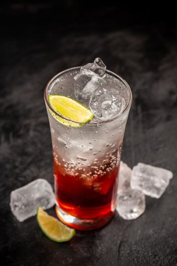 Soda drink with strawberry syrup