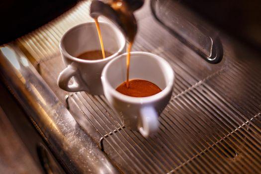 Golden espresso flowing.