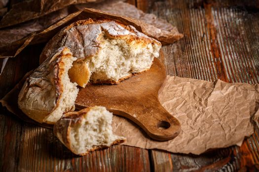Broken loaf of bread