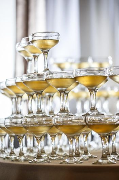 Champagne glasses pyramid