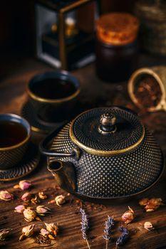 Traditional oriental iron teapot