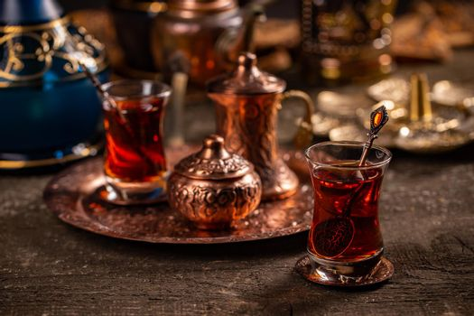 Turkish tea with authentic glass cup