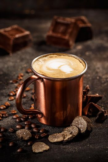 Truffle and chocolate flavored coffee latte