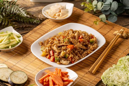 Plate of chinese fried rice