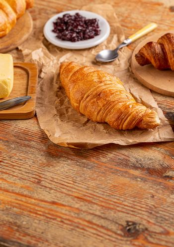 Fresh croissant with copy space
