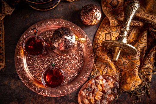 Flat lay of Turkish tea