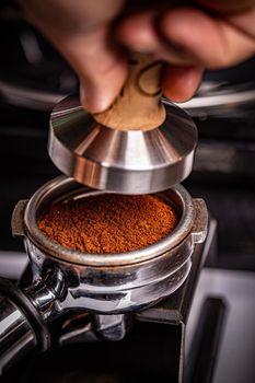 Tamped espresso coffee