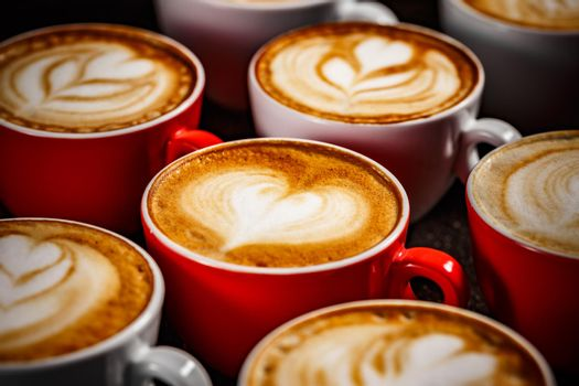 Many cups of cappuccino