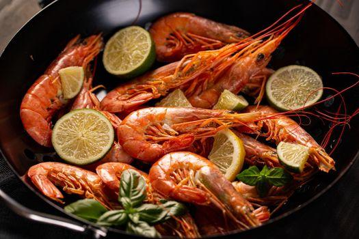 Close up of fresh king prawns