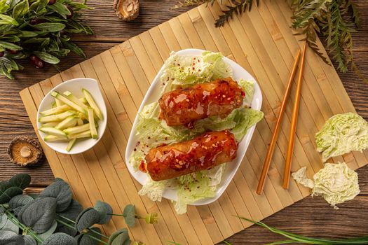 Spring roll with meat filling