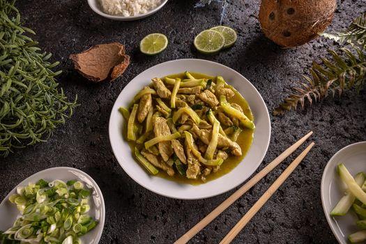 Stir fry chicken and zucchini