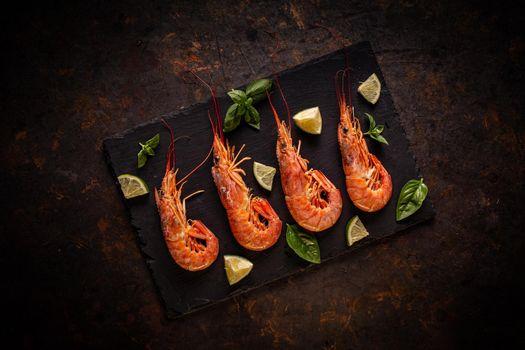 Fresh uncooked king prawns