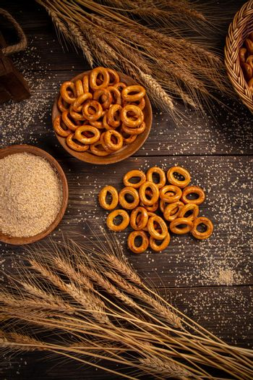 Flat lay of pretzel rings