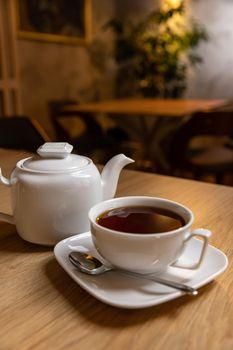 Hot tea and teapot