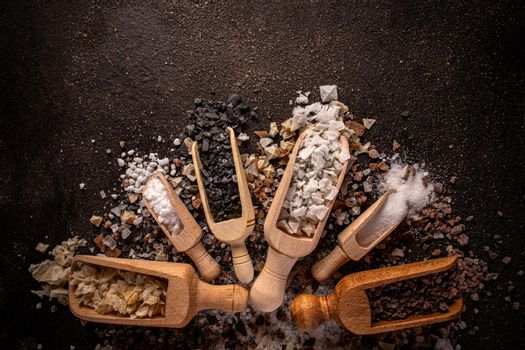 Flat lay of different types of salt