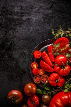 Flat lay of fresh ripe tomatoes