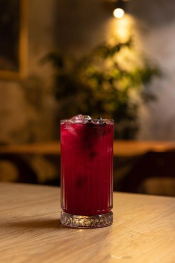 Cold refreshing drink with blueberries