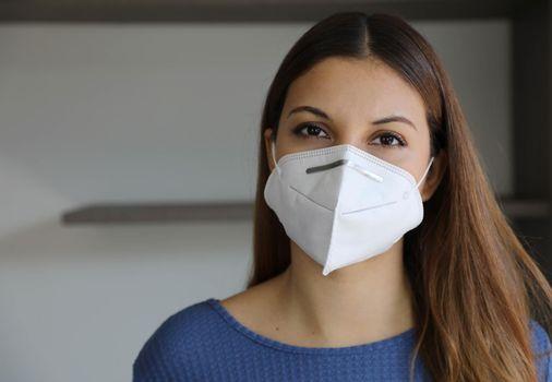 Close up Portrait of Brazilian Caucasian Woman with FFP2 KN95 Mask
