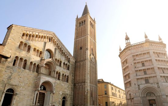 Parma, Italy - Piazza Duomo square with the Cathedral with Bell Tower and Baptistery
