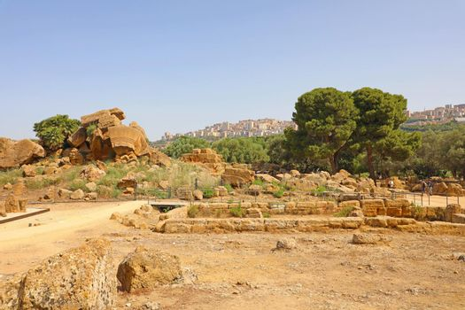 Ruins in famous ancient Valley of Temples of Agrigento, Sicily, Italy. UNESCO World Heritage Site.
