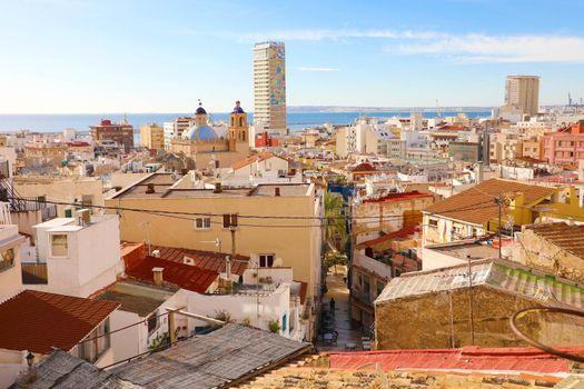 ALICANTE, SPAIN - NOVEMBER 29, 2019: cityscape of the city of Alicante, Spain