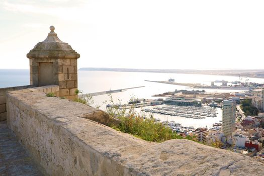 Santa Barbara castle with panoramic aerial view of Alicante famous touristic city in Costa Blanca, Spain
