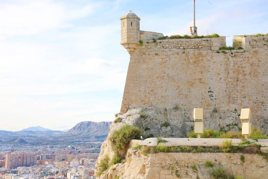 Santa Barbara castle with aerial view of Alicante famous touristic city in Spain