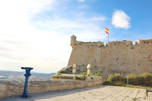 Alicante Santa Barbara castle with point of view in Alicante touristic city in Spain