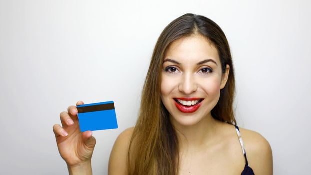 People, sale and consumerism concept. Close up of happy woman with credit card.