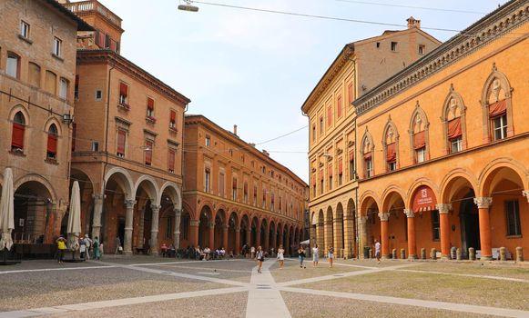 BOLOGNA, ITALY - JULY 22, 2019: Piazza Santo Stefano square, beautiful medieval city of Bologna, Italy