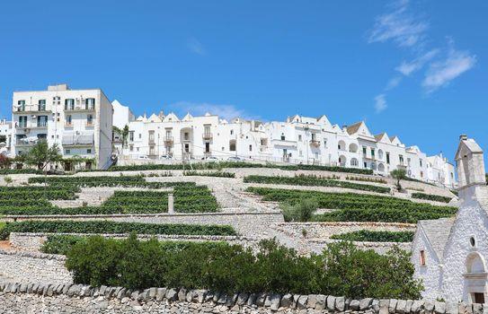 Beautiful view of Locorotondo white historic town, Apulia, Italy