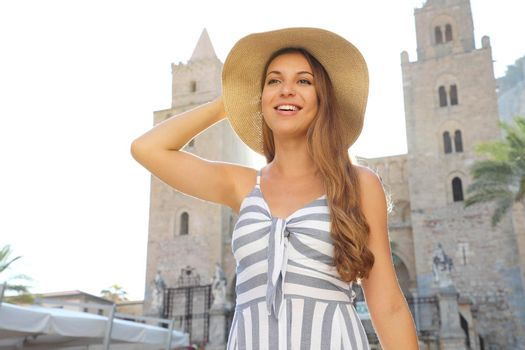 Portrait of happy beautiful woman knowing the Mediterranean culture on travel