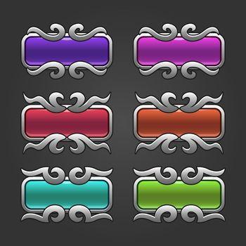 Silver swirl frame buttons set