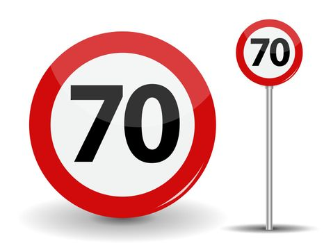 Round Red Road Sign: Speed limit 70 kilometers per hour. Vector Illustration.