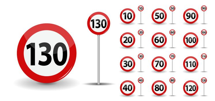 Round Red Road Sign: Speed limit 10-130 kilometers per hour. Vector Illustration.