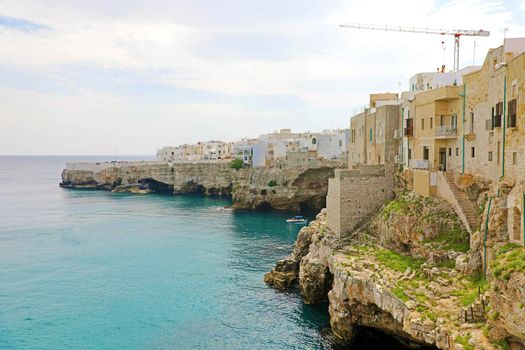Polignano a mare breathtaking sight, Apulia, Italy. Italian panorama. Cliffs on adriatic sea.