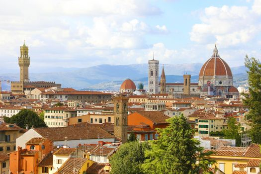 Panoramic view of the city of Florence with Palazzo Vecchio palace and Cathedral of Santa Maria del Fiore (Duomo), Florence, Tuscany, Italy.
