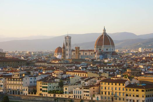 Florence city during golden sunset. Panoramic view of the Cathedral of Santa Maria del Fiore (Duomo), Florence, Italy.