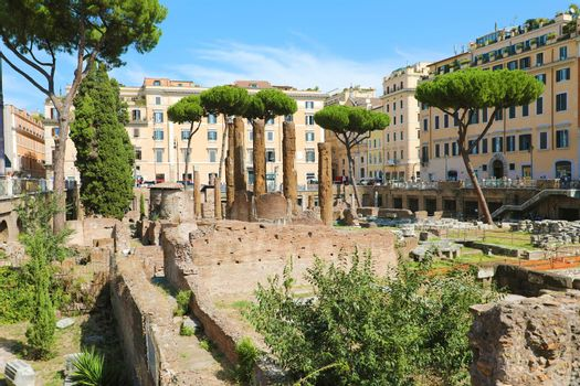 Rome, the archeological site of Largo di Torre Argentina with the ruins of four Roman Republican temples and the remains of Curia of Pompey.
