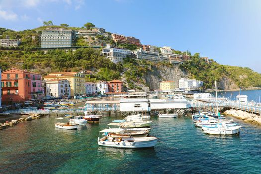 Sorrento Coast with the harbour and village, Italy.