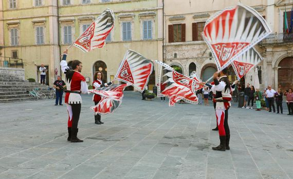 PERUGIA, ITALY - SEPTEMBER 2019: medieval folklore in old town of Perugia, Umbria, Italy