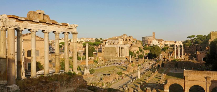 Panoramic view of Ancient Rome ruins. Cityscape skyline of landmarks of Rome famous travel destinations of Italy.