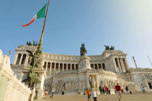 ROME, ITALY - SEPTEMBER 16, 2019: Fatherland Altar at the Vittorio Emanuele II Monument in Rome with Italian flag, Italy.