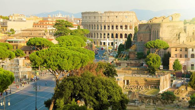 Panoramic view of Rome. Cityscape skyline of landmarks of Ancient Rome with Coliseum and Roman Forum famous travel destinations of Italy.