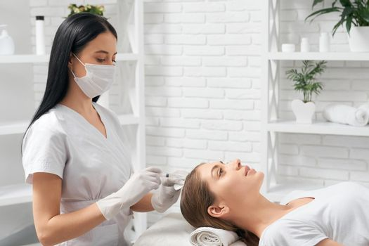 Procedure for improvements growth hair in beauty salon.