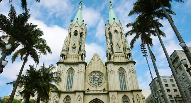 Amazing view of Se Cathedral in Sao Paulo, Brazil